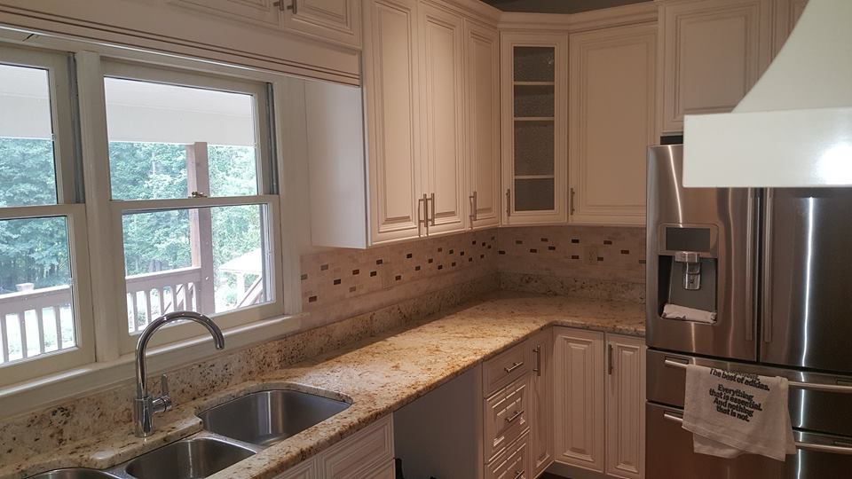 Charleston White With A Charleston Saddle Island. Job Completed With New  Cabinetry And Granite.